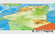 Physical Panoramic Map of Algeria, political shades outside, shaded relief sea