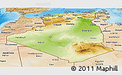 Physical Panoramic Map of Algeria, satellite outside, shaded relief sea