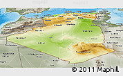 Physical Panoramic Map of Algeria, semi-desaturated, land only