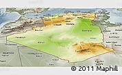 Physical Panoramic Map of Algeria, semi-desaturated