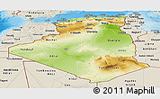 Physical Panoramic Map of Algeria, shaded relief outside