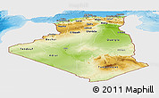 Physical Panoramic Map of Algeria, single color outside