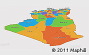 Political Panoramic Map of Algeria, cropped outside