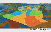 Political Panoramic Map of Algeria, darken