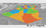 Political Panoramic Map of Algeria, desaturated
