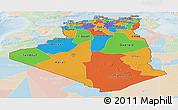 Political Panoramic Map of Algeria, lighten