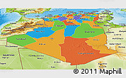 Political Panoramic Map of Algeria, physical outside