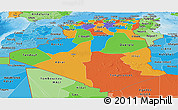 Political Panoramic Map of Algeria, political shades outside