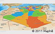 Political Panoramic Map of Algeria, satellite outside, bathymetry sea