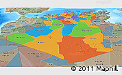 Political Panoramic Map of Algeria, semi-desaturated, land only