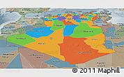 Political Panoramic Map of Algeria, semi-desaturated