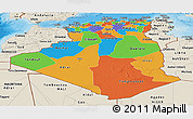 Political Panoramic Map of Algeria, shaded relief outside, bathymetry sea