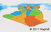 Political Panoramic Map of Algeria, single color outside