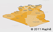 Political Shades Panoramic Map of Algeria, cropped outside