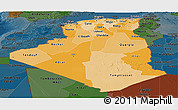 Political Shades Panoramic Map of Algeria, darken