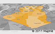 Political Shades Panoramic Map of Algeria, desaturated