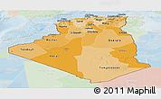 Political Shades Panoramic Map of Algeria, lighten