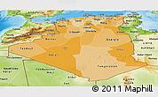 Political Shades Panoramic Map of Algeria, physical outside
