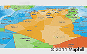 Political Shades Panoramic Map of Algeria