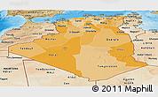 Political Shades Panoramic Map of Algeria, satellite outside, bathymetry sea