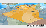 Political Shades Panoramic Map of Algeria, semi-desaturated, land only