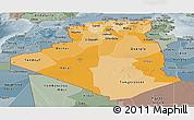 Political Shades Panoramic Map of Algeria, semi-desaturated
