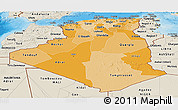 Political Shades Panoramic Map of Algeria, shaded relief outside, bathymetry sea