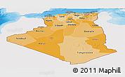 Political Shades Panoramic Map of Algeria, single color outside