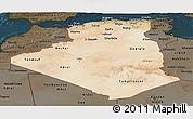 Satellite Panoramic Map of Algeria, darken