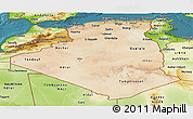 Satellite Panoramic Map of Algeria, physical outside, satellite sea