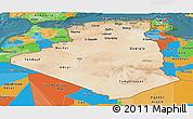 Satellite Panoramic Map of Algeria, political outside, satellite sea