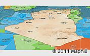 Satellite Panoramic Map of Algeria, political shades outside, satellite sea