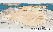 Satellite Panoramic Map of Algeria, semi-desaturated, land only