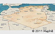 Satellite Panoramic Map of Algeria, shaded relief outside, satellite sea