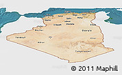 Satellite Panoramic Map of Algeria, single color outside