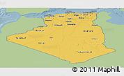 Savanna Style Panoramic Map of Algeria, single color outside