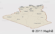 Shaded Relief Panoramic Map of Algeria, cropped outside