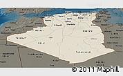 Shaded Relief Panoramic Map of Algeria, darken
