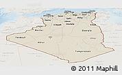 Shaded Relief Panoramic Map of Algeria, lighten