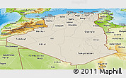 Shaded Relief Panoramic Map of Algeria, physical outside