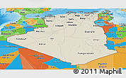 Shaded Relief Panoramic Map of Algeria, political outside, shaded relief sea