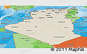 Shaded Relief Panoramic Map of Algeria, political shades outside, shaded relief sea