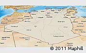 Shaded Relief Panoramic Map of Algeria, satellite outside, shaded relief sea