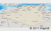 Shaded Relief Panoramic Map of Algeria, semi-desaturated, land only