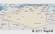 Shaded Relief Panoramic Map of Algeria, semi-desaturated