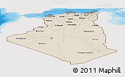 Shaded Relief Panoramic Map of Algeria, single color outside