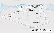 Silver Style Panoramic Map of Algeria, single color outside