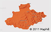 Political 3D Map of Relizane, cropped outside