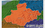 Political 3D Map of Relizane, darken