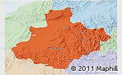 Political 3D Map of Relizane, lighten